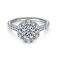 Yesenia 18k White Gold Round Halo Engagement Ring angle 1