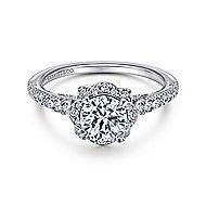 Yolanda 18k White Gold Round Halo Engagement Ring angle 1