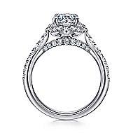 Yolanda 18k White Gold Round Halo Engagement Ring angle 2