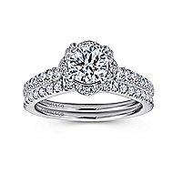 Yolanda 18k White Gold Round Halo Engagement Ring angle 4