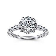 Yolanda 18k White Gold Round Halo Engagement Ring angle 5