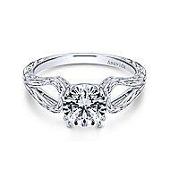 York 18k White Gold Round Split Shank Engagement Ring angle 1