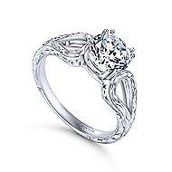 York 18k White Gold Round Split Shank Engagement Ring angle 3