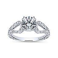 York 18k White Gold Round Split Shank Engagement Ring angle 5