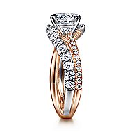 Zaira 14k White And Rose Gold Round Free Form Engagement Ring angle 5