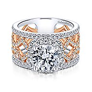 Zane 18k White And Rose Gold Round Halo Engagement Ring angle 1