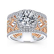 Zane 18k White And Rose Gold Round Halo Engagement Ring angle 5