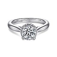 Zaria 14k White Gold Round Straight Engagement Ring angle 1