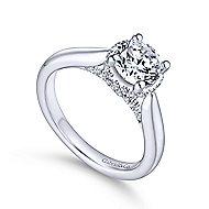 Zaria 14k White Gold Round Straight Engagement Ring angle 3