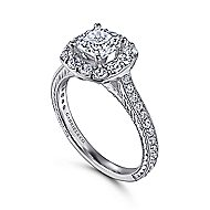 Zelda 14k White Gold Cushion Cut Halo Engagement Ring angle 3