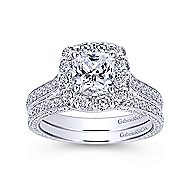 Zelda 14k White Gold Cushion Cut Halo Engagement Ring angle 4