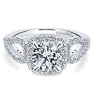 Zinnia 14k White Gold Round Halo Engagement Ring angle 1