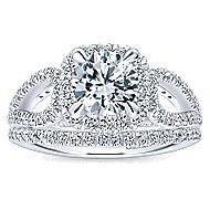 Zinnia 14k White Gold Round Halo Engagement Ring angle 4