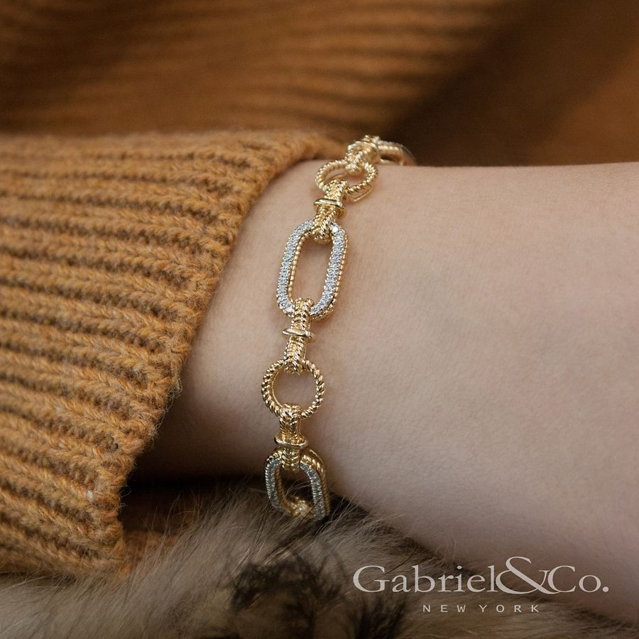 14K Yellow and White Gold Diamond Bracelet with Alternating Links