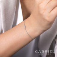 14K White Gold Diamond Bracelet angle