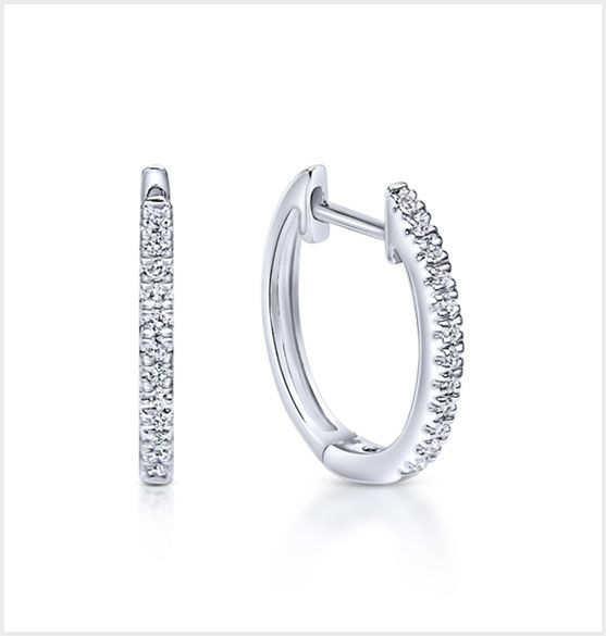 White Gold Classic Diamond Huggie Earrings