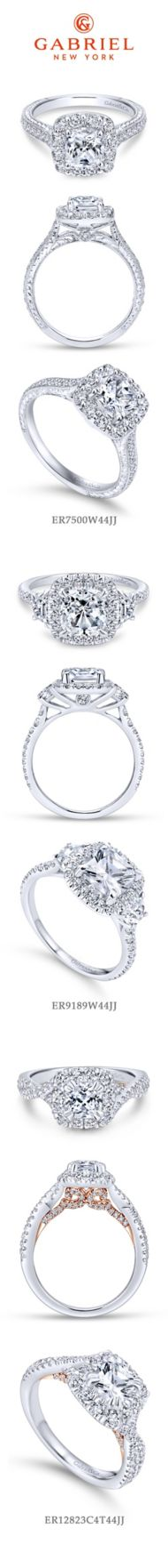 Zelda 14k White Gold Cushion Cut Halo Engagement Ring angle